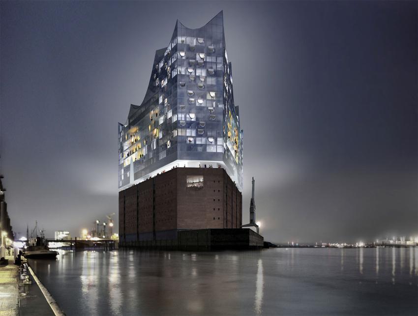 Futuristiska Elbphilharmonie konserthus i Hamburg