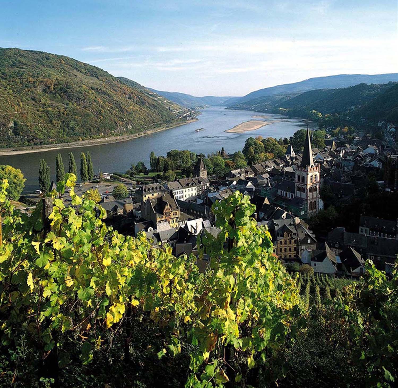 Den vackra floden som rinner förbi Koblenz